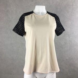 J Crew raglan lurex sleeves tee top ivory & black
